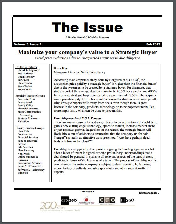 The issue newsletter february 2013 2go group resources according to an empirical study done by bargeron et al 20081 the acquisition price paid by a strategic buyer is higher than the financial buyer2 due spiritdancerdesigns Choice Image